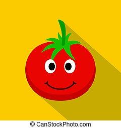 Red smiing tomato icon, flat style - Red smiing tomato icon....