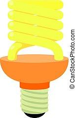 Energy saving bulb icon, cartoon style - Energy saving bulb...