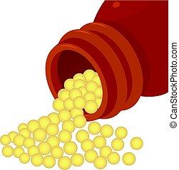Bottle of homeopathic medication icon. Cartoon illustration...