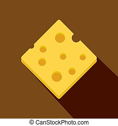 Cheese fresh block icon, flat style - Cheese fresh block...