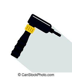 Hand draw rotary tattoo machine icon, flat style - Hand draw...