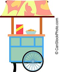 Mobile cart for sale food icon, cartoon style