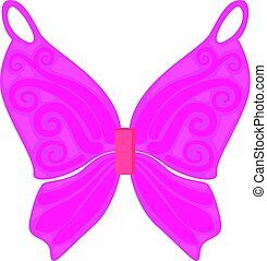 Pink fairy wings icon, cartoon style - Pink fairy wings...