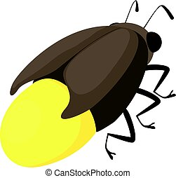 Firefly bug icon, cartoon style - Firefly bug icon. Cartoon...