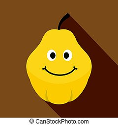 Yellow smiling quince fruit icon, flat style - Yellow...
