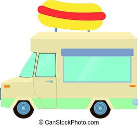 Food truck with hot dog icon, cartoon style