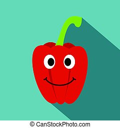 Fresh red smiling sweet pepper icon, flat style - Fresh red...