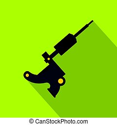 Coil tattoo machine icon, flat style - Coil tattoo machine...