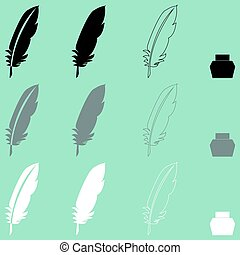 Feather and inkwell different icon.