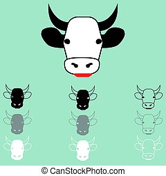 Cow face different colour icon.