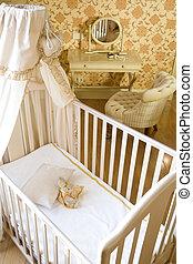 bebé, habitación, pesebre, juguetes