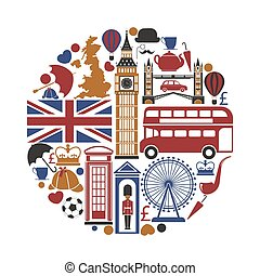 England UK travel sightseeing icons and vector landmarks...