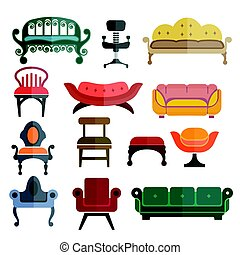 Furniture seats or chairs vector isolated flat icons set -...