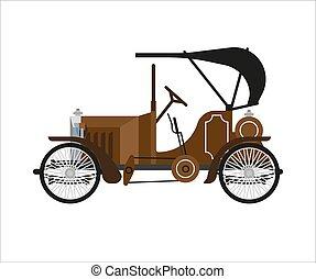 Old car or vintage retro collector auto vector flat icon -...
