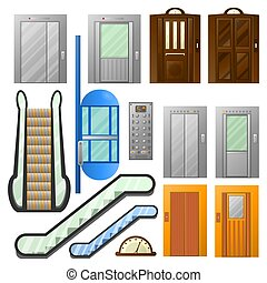 Elevators or escalator lifts vector isolated icons set -...