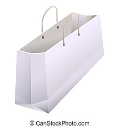 Paper shopping bag with handles 3D realistic white vector...