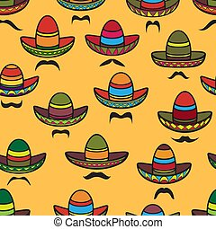 Vector seamless pattern. Sombrero and moustache on yellow.