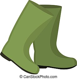 Rubber boots for fishing. icon flat, cartoon style. Isolated on white background. Vector illustration, clip-art.