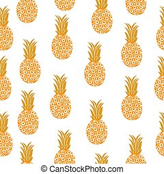 Pineapple seamless texture. Pineapple background, wallpaper, fabric. Vector illustration.