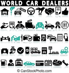 Car dealership icons set on a white background with a shadow