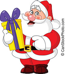 Santa Claus carrying a gift