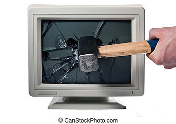 Monitor is smashed with a hammer - vintage monitor is...