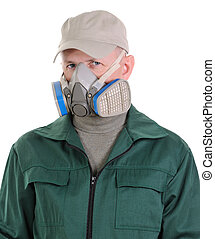 The person with respirator - Portrait of the man with...