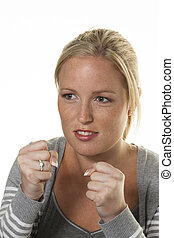 young woman is ready to fight
