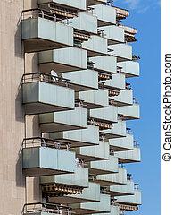 hoitel - balconies of a hotel building in a seaside resort