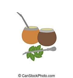 Calabash mate drink on the white background. Vector...