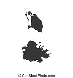 Antigua and Barbuda map on the white background. Vector...