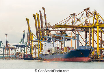 Industrial port container ship