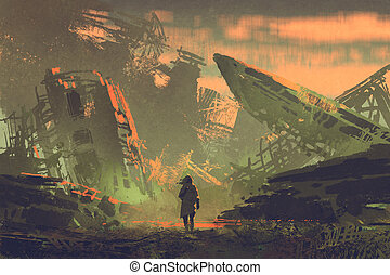 the man walking out from ruined planes - scene of the man...