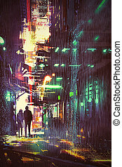 couple walking in alley at rainy night - sci-fi concept of...