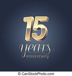 15th anniversary vector icon, logo