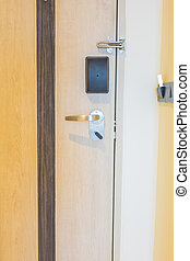 Closeup of electronic card in room . - Closeup of electronic...