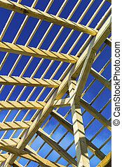 wooden roof construction, symbolfoto for home, home...