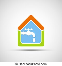 Logo House and tap water. Vector image.