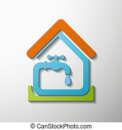 tap water. Stock illustration. - Logo house and tap water....