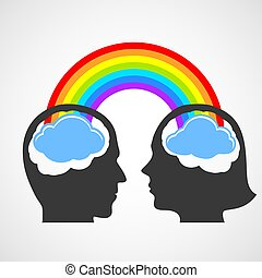 Silhouette of the head of man and woman. Vector image.