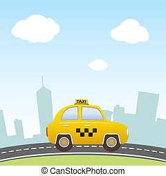Taxi on city background.