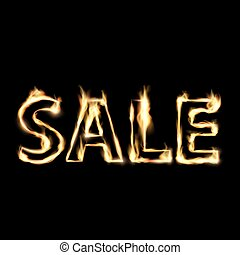 sale. Stock illustration. - Word sale in fire. Stock vector...