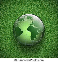 Planet earth on the grass. Vector image.