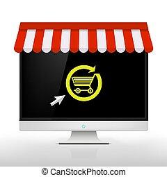 E-shop. Vector Image - E-shop. Computer monitor with a link....