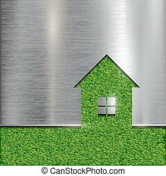 The contour of the house on a grass background.