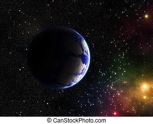 Exoplanets in outer space. Quasar. Stock illustration.