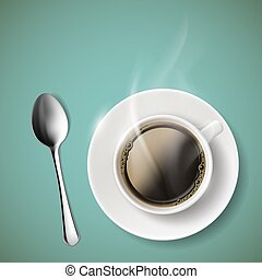 coffee. Stock illustration. - Cup of coffee and spoon. Stock...