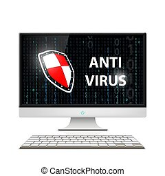 Anti-virus software. Stock illustration. - Logo display with...
