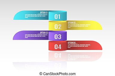 Modern infographics for business projects. A diagram to show your work. Option number. Realistic paper tapes. Vector illustration in a flat style