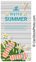 Hello summer background with sea elements on wooden board 2